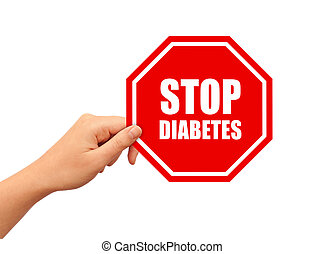 Stop diabetes sign over white