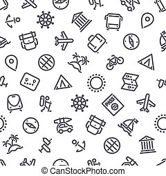 Travel and Vacation Seamless Pattern - Travel and Vacation...