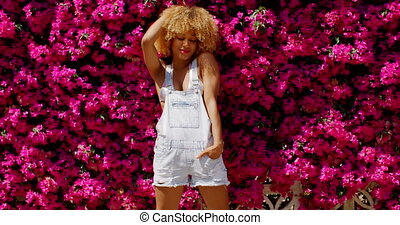 Sexy Girl Posing on Flower Background - Sexy Girl Posing on...