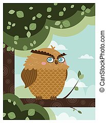 Owl in a branch