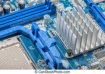Computers detail - Close up of a chipset heatsink on...
