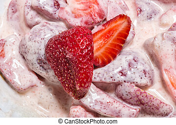 Bowl of Strawberries and Cream - Close up of delicious...