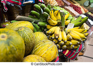 Fresh exotic fruits in Mercado Dos Lavradores Funchal,...