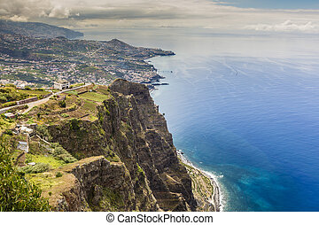 600 Meter high cliffs of Gabo Girao at Madeira Island,...