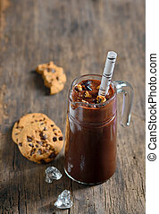 Chocolate Milkshake with Cookies Topping