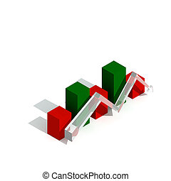 Business graph and chart flat trand 3d visualisation