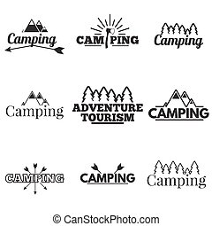 icon set camping - Set of camping logos, labels and emblems