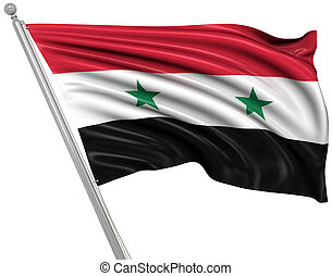 Flag of Syria , 3d rendered image.