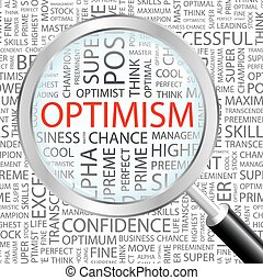 OPTIMISM. Background concept wordcloud illustration. Print...
