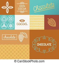Vector set of design elements for chocolate packaging