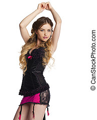 Young and sexy blond girl in black corset lingerie bright makeup isolated on white
