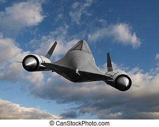 Cold War Spy Plane - Blackbird cold war spy plane in flight...