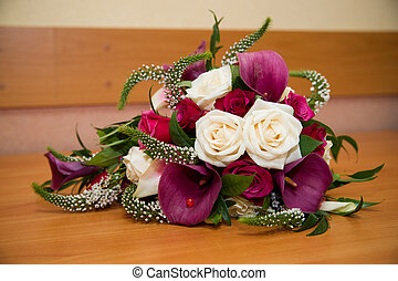 Bridal bouquet  on table.