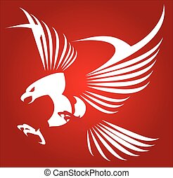 White eagle, hawk, falcon. - White eagle isolated on red...