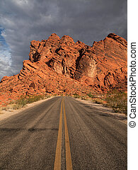 Valley of Fire Nevada. Road leading towards sandstone...