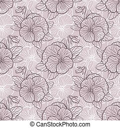 Seamless pattern with pansy - Seamless floral pattern with...