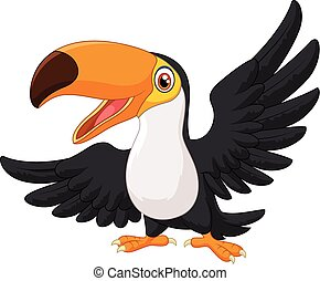 Cartoon happy bird toucan - Vector illustration of Cartoon...