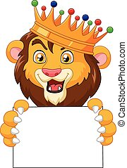 Cartoon king lion holding blank sig - Vector illustration of...