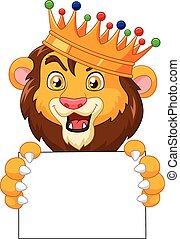 Cartoon king lion holding blank sig - Vector illustration of...