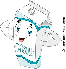 Cartoon a boxes of milk to give str - Vector illustration of...