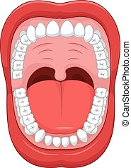 Cartoon Open mouth and white health - Vector illustration of...