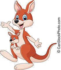 Cartoon red kangaroo carrying a cut - Vector illustration of...
