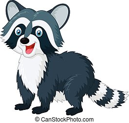 Cartoon cute raccoon - Vector illustration of Cartoon cute...