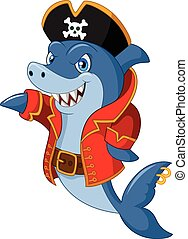 Cute shark cartoon - Vector illustration of Cute shark...