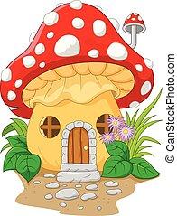 caricatura, cogumelo, casa,