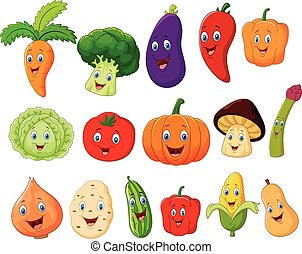 Cute vegetable cartoon character - Vector illustration of...