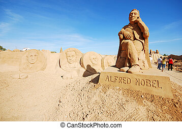 Alfred Nobel large sand sculpture in Algarve, Portugal. -...