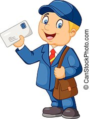 Cartoon Mail carrier with bag and l