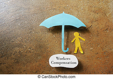 Workers Compensation - Paper man under an umbrella with...