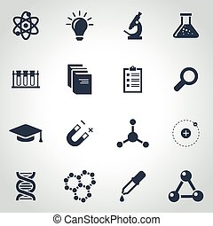 Vector black science icon set on grey background