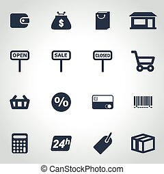 Vector black shop icon set