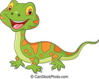 Cartoon cute lizard - Vector illustration of Cartoon cute...