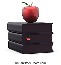 Textbooks stack total black books and red apple idea icon