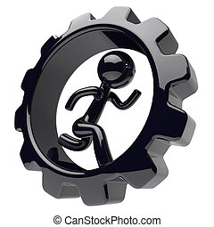 Running man character inside gearwheel businessman icon -...