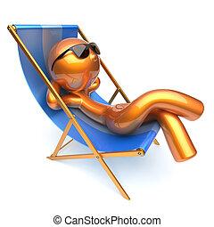 Man relaxing cartoon character chilling beach deck chair...