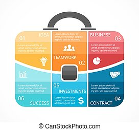 Vector briefcase infographic. Template for bag diagram, graph, presentation, round chart. Business professional portfolio with 6 options, parts, steps or processes. Travel and tourism concept.