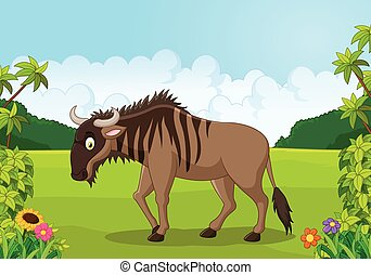 Cartoon animal Wildebeest - Vector illustration of Cartoon...