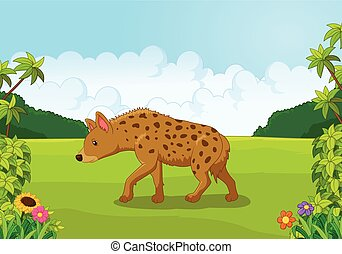 Cartoon hyena from the side - Vector illustration of Cartoon...