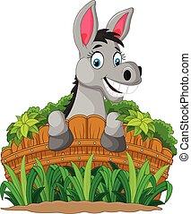 Donkey cartoon holding fence - Vector illustration of Donkey...