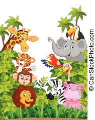 Cartoon collection happy animal in