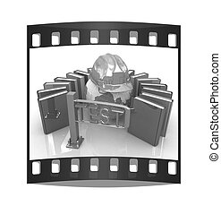 Global technology control concept. The film strip