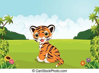 Cartoon cute baby tiger