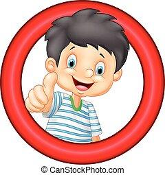 Cartoon little boy giving thumb up - Vector illustration of...