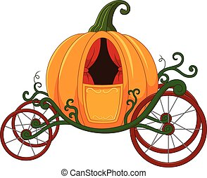 Cartoon Pumpkin carriage - Vector illustration of Cartoon...
