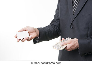 Businessman with bank card and dollars in suit on white...