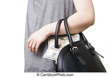 Woman with a bag full of money in the hands of